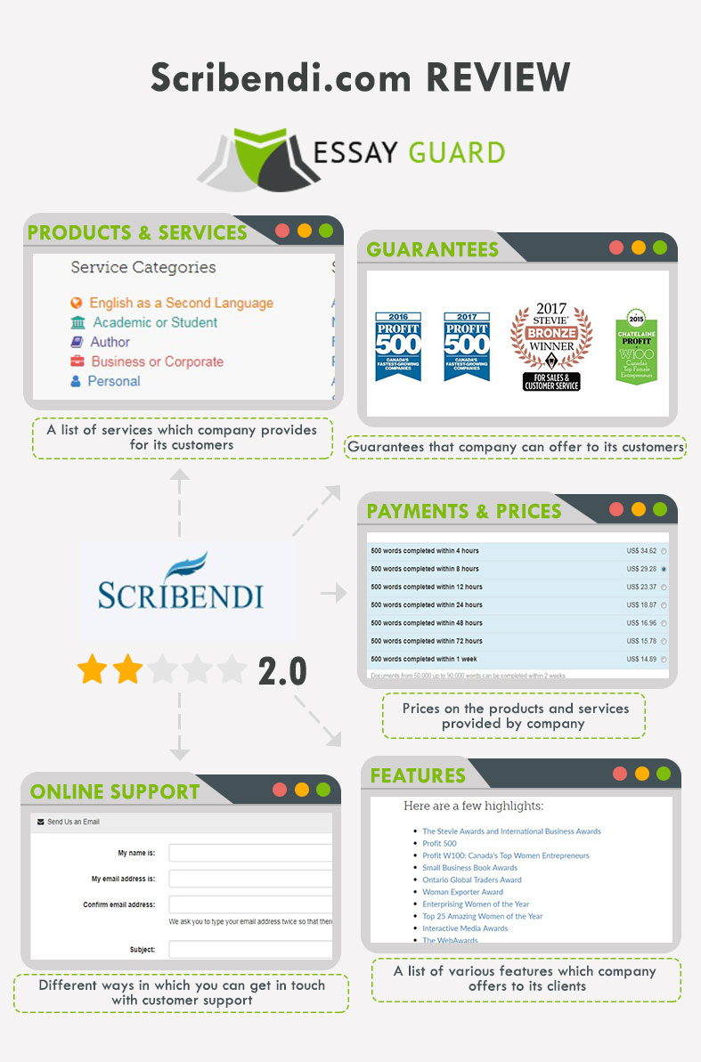 Scribendi ratings infographics by Essay Guard