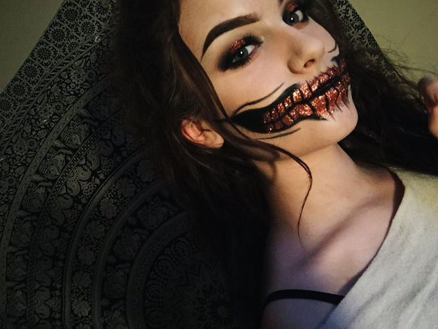 Content halloween face makeup and paintings