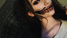 Slide halloween face makeup and paintings